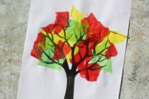 fall tree craft with wet tissue paper