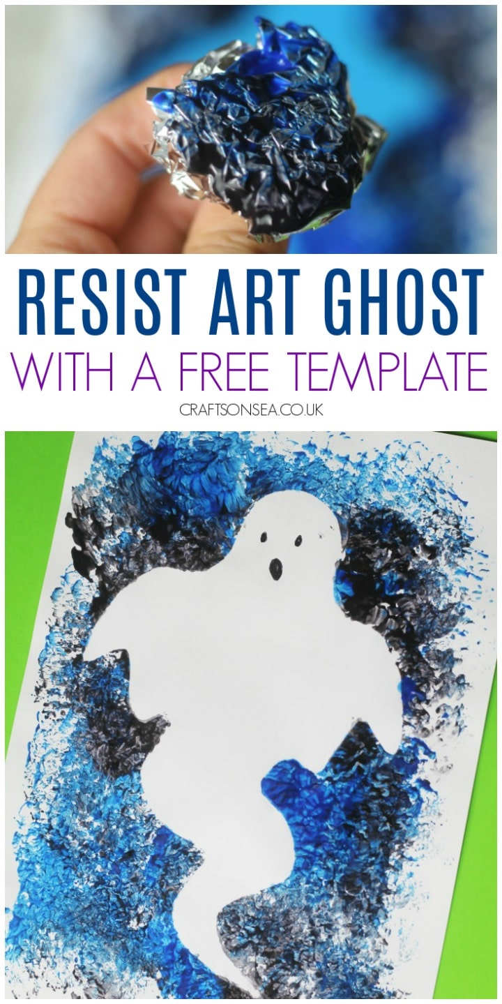 easy ghost craft for kids resist art with a free template