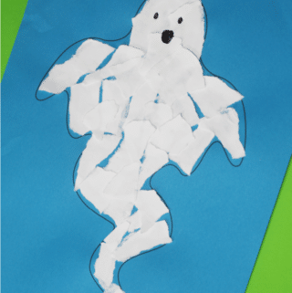 easy torn paper ghost craft
