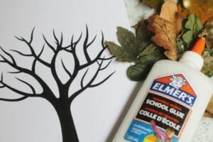 fall tree craft with real leaves template