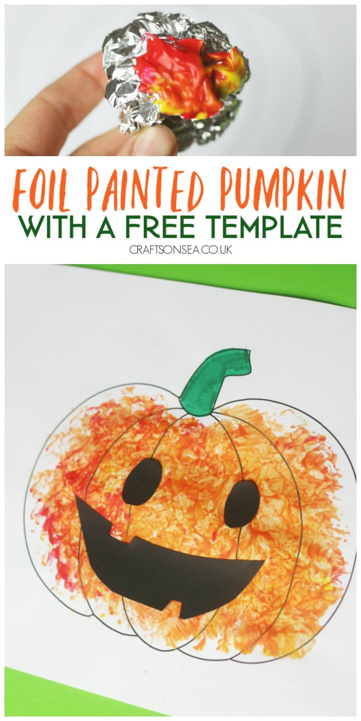 foil painted pumpkin craft for halloween