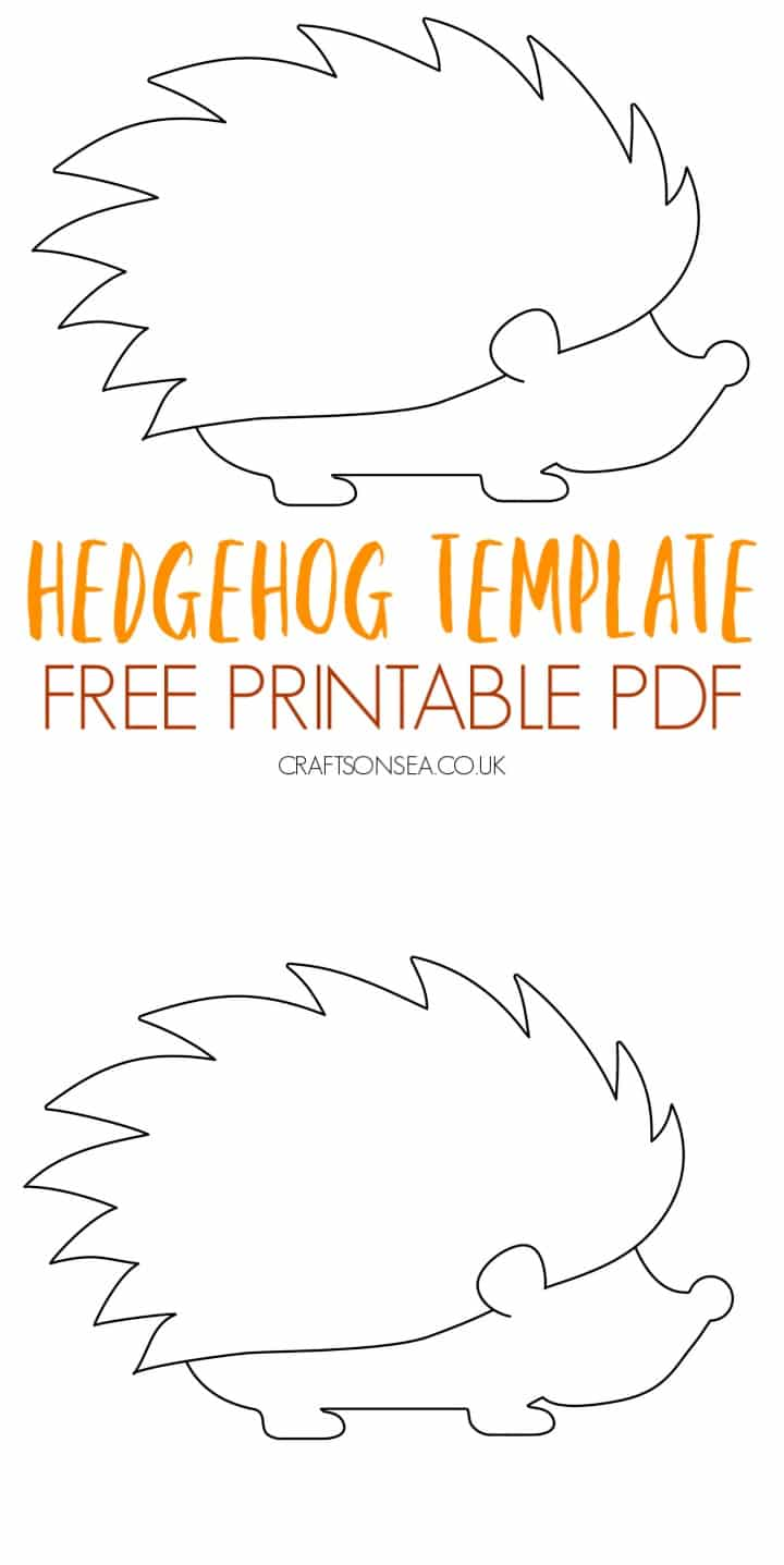 hedgehog template free printable PDF for kids crafts