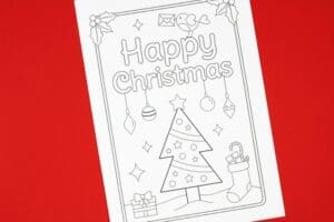 Christmas tree free printable card for kids to colour