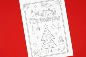Christmas tree free printable card for kids to colour