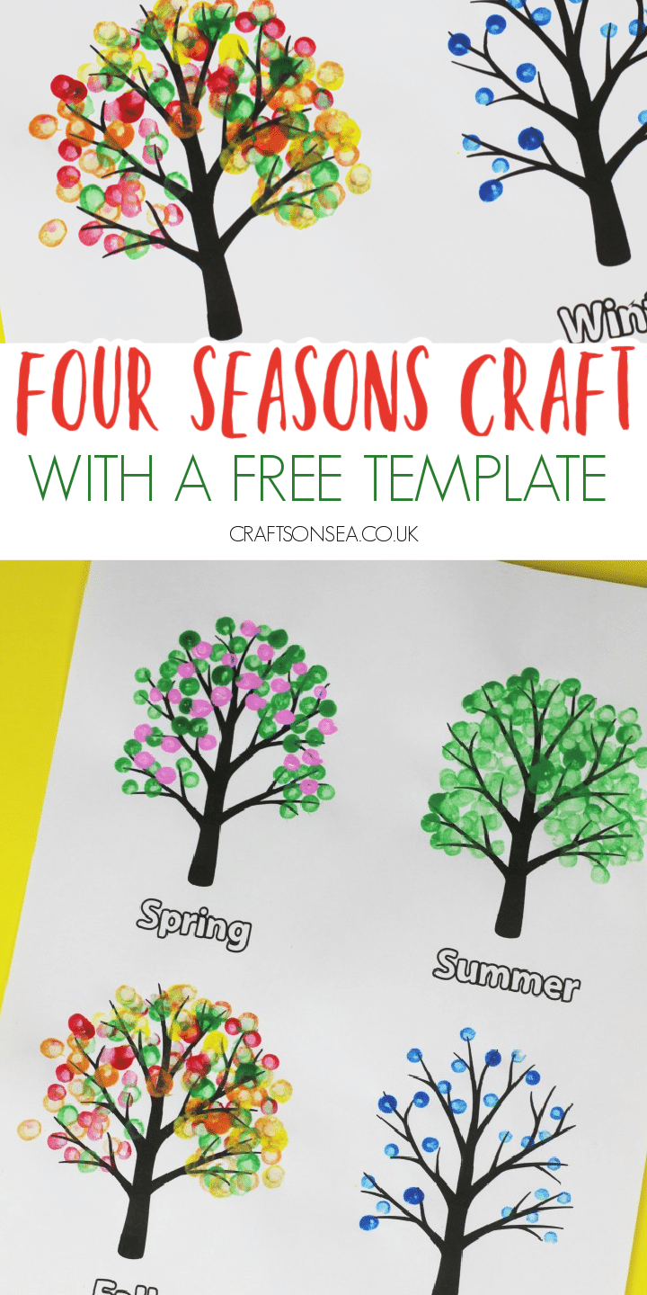 Four seasons tree craft for kids with a free template painting