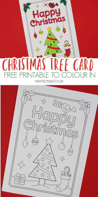 christmas card for kids free printable to colour christmas tree