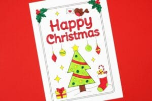 free printable christmas cards for kids to colour tree
