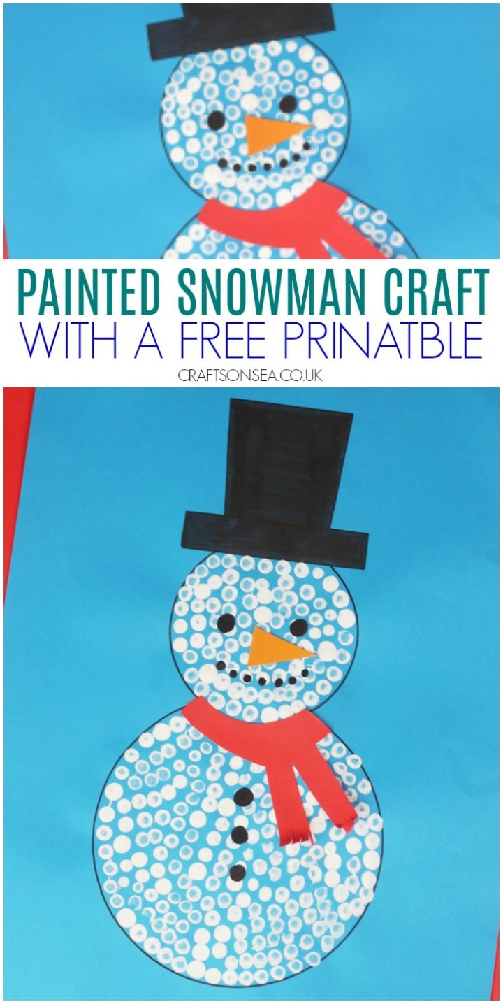 painted snowman craft for kids with a free printable