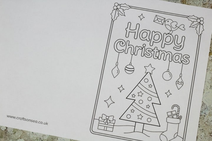 Free Printable Christmas Cards To Colour Christmas Tree Crafts On Sea