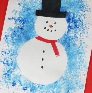resist art snowman craft for kids