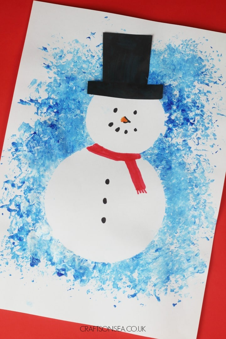 resist art snowman craft for kids
