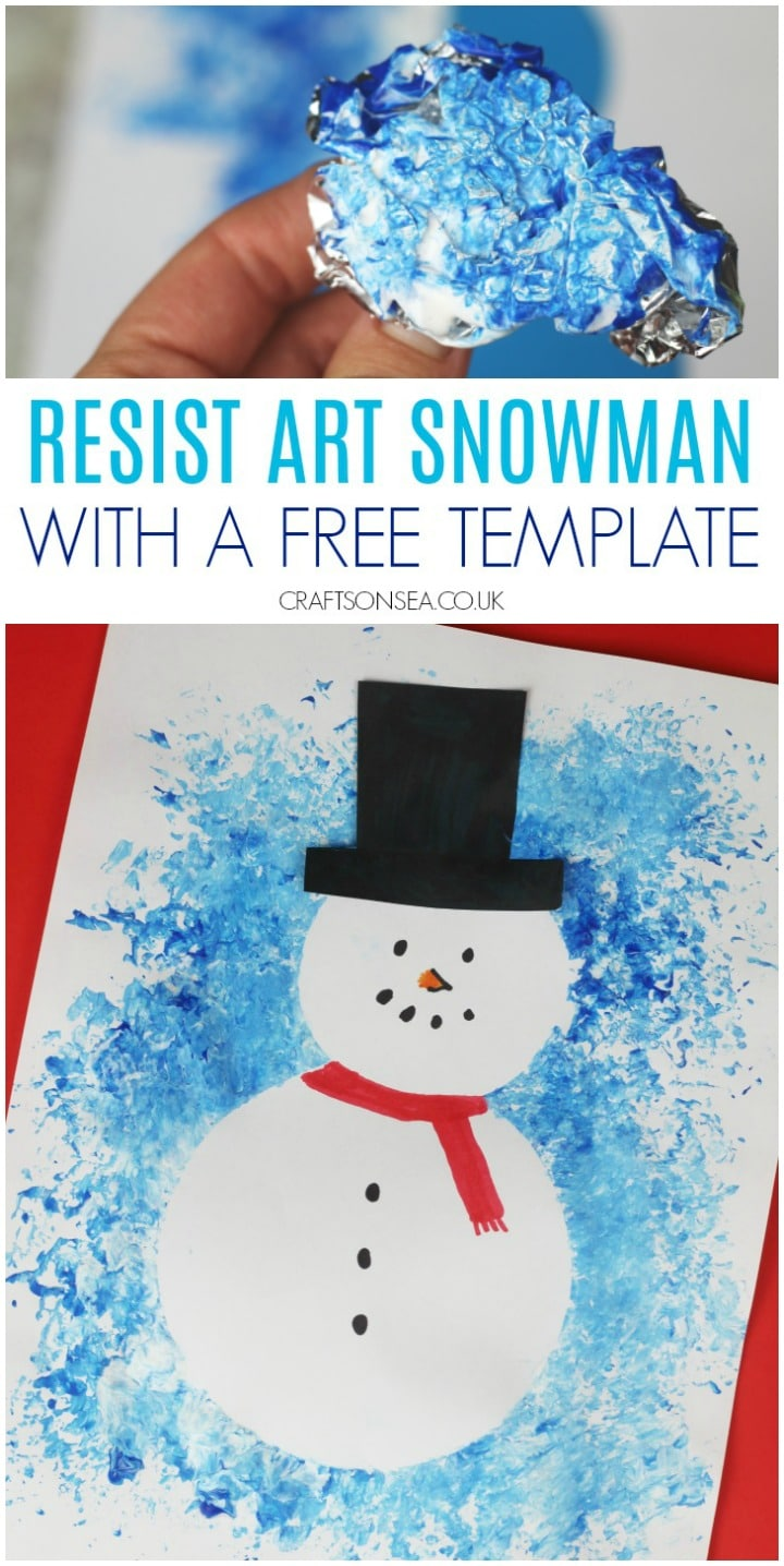 resist art snowman craft with free template