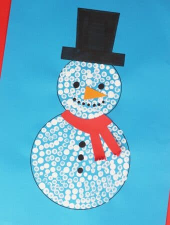 snowman craft for kids cotton buds q-tips