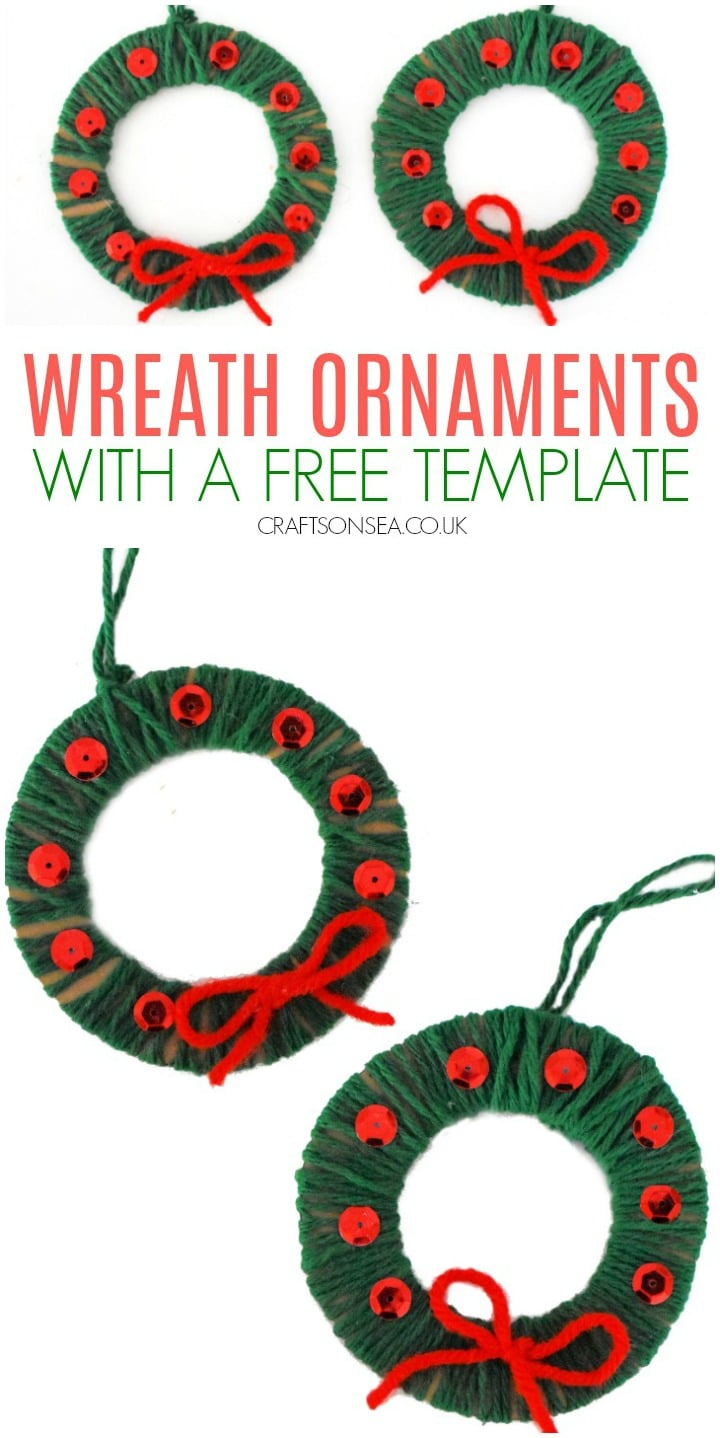 christmas ornaments kids can make yarn wrapped wreath