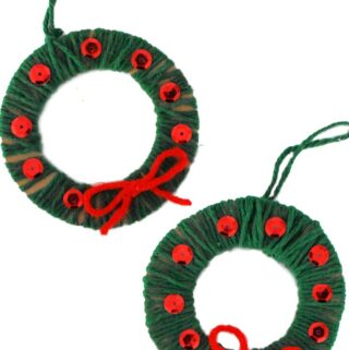 yarn wrapped wreath ornaments