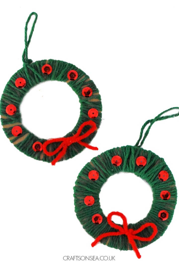 yarn wrapped wreath ornaments