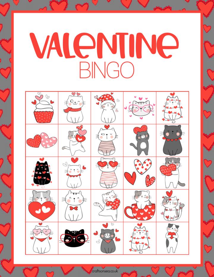 Valentine Bingo Cards free printable PDF for kids