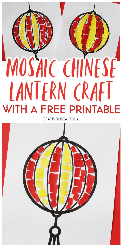 chinese lantern craft for kids mosaic paper