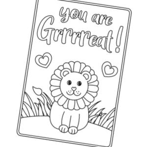 lion valentines card 300