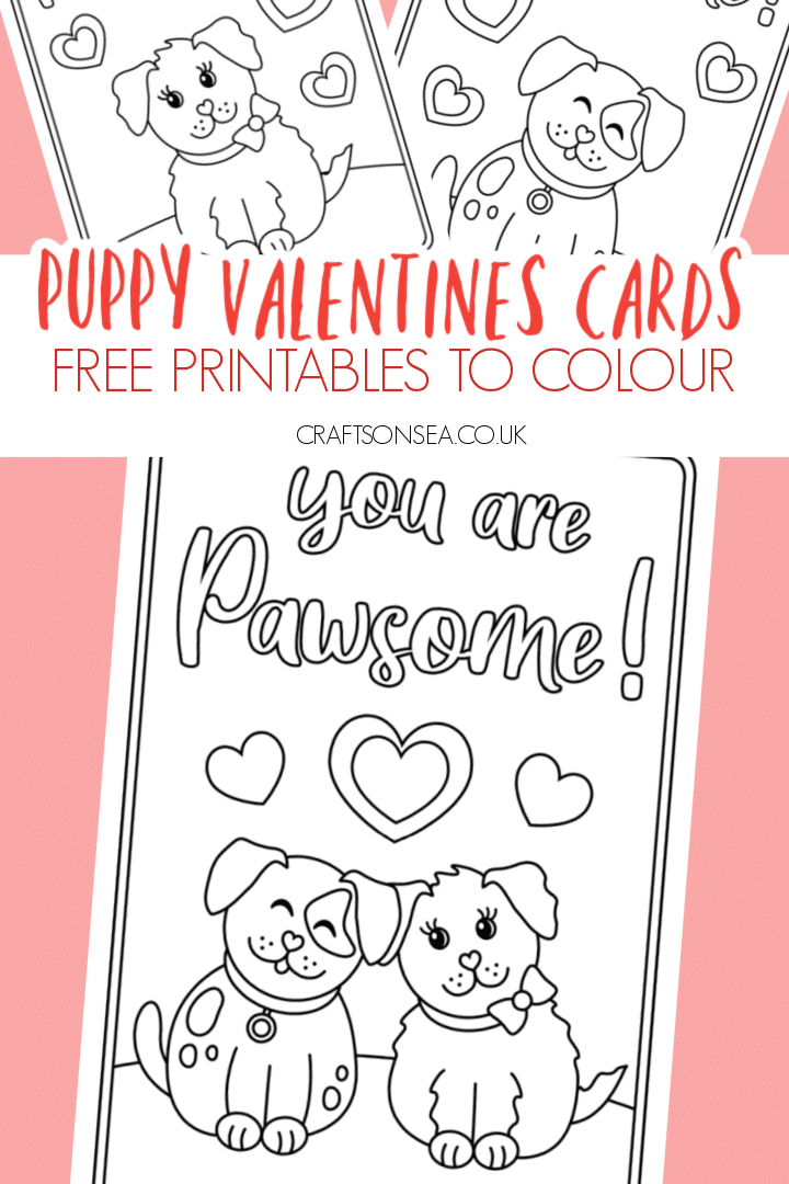 puppy valentines cards for kids free printable to colour
