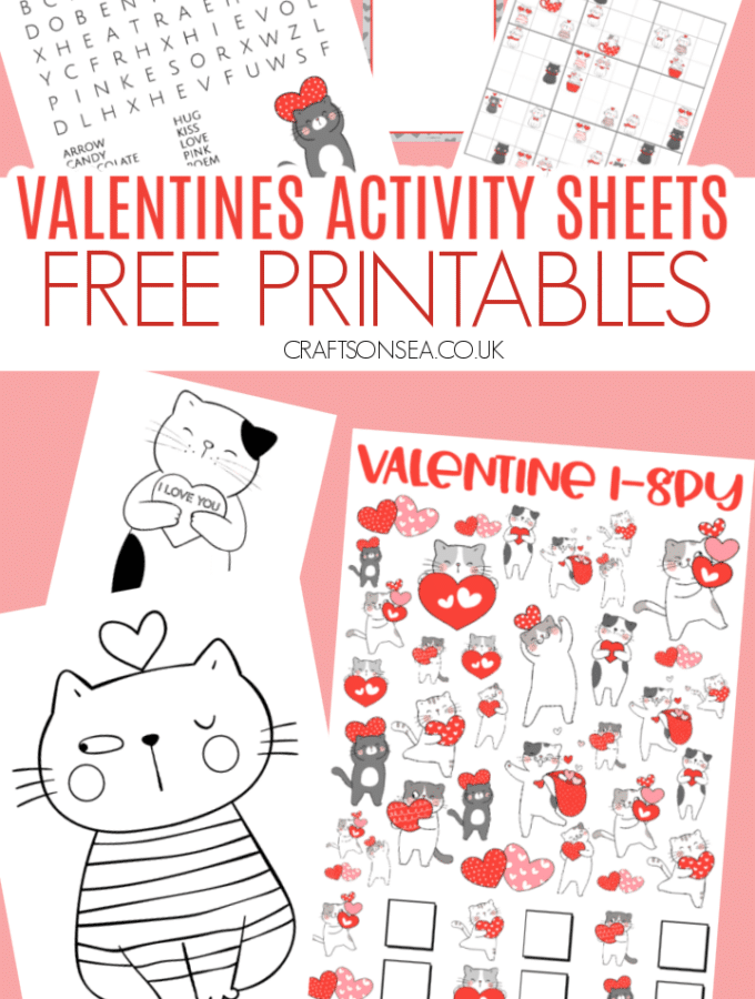 valentines activity sheets for kids cat