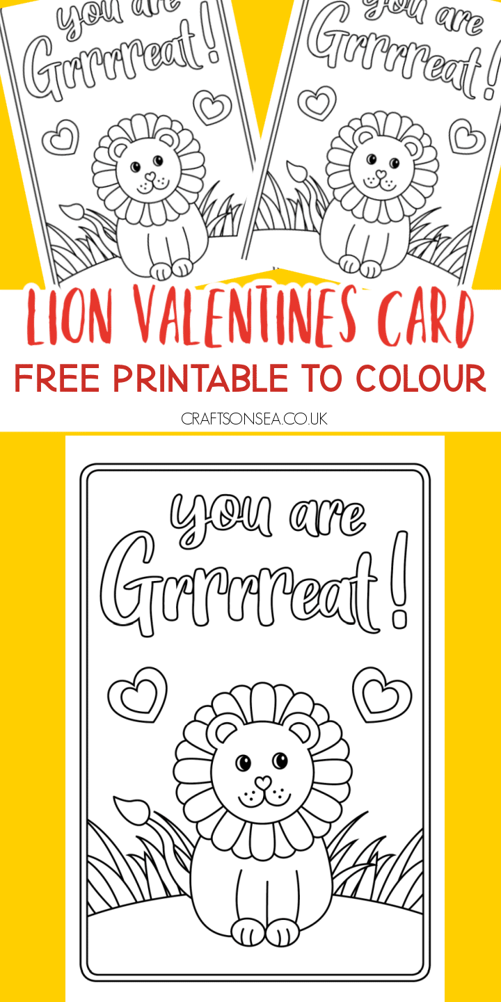 valentines cards for kids free printable lion