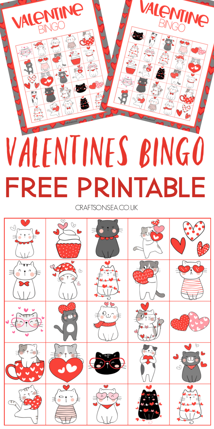 valentines free printable for classrooms kids downloadable PDF bingo cards cats