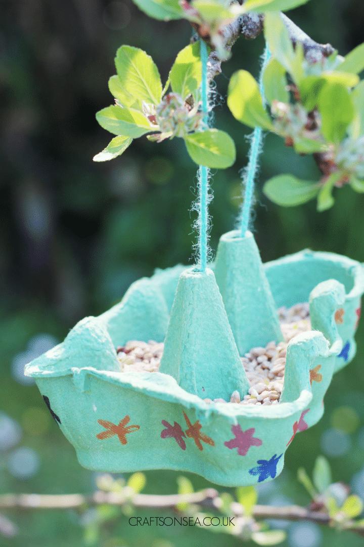 egg box bird feeder kids can make