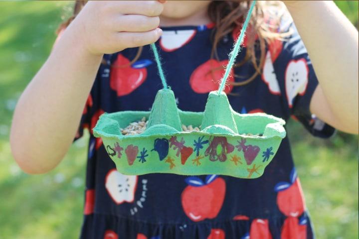kid made egg box bird feeder