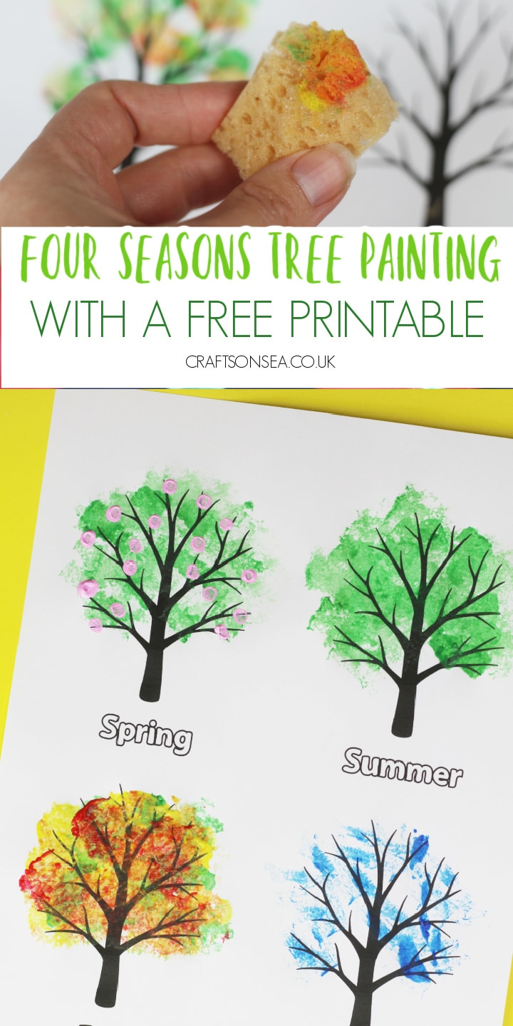 four seasons tree craft for kids painting activity art free template