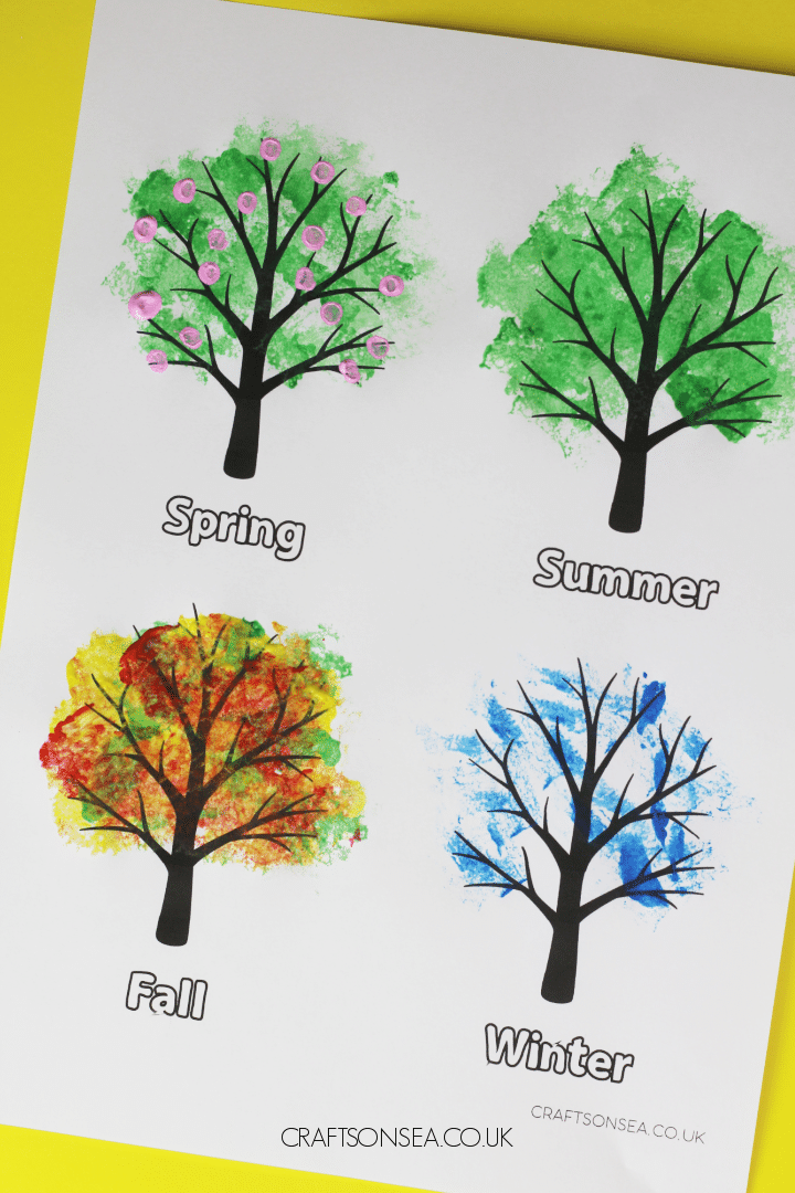 four seasons tree painting activity