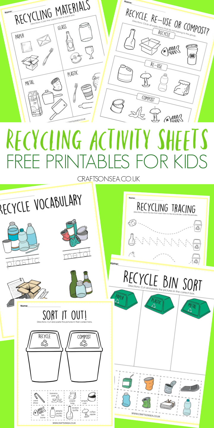 recycling activities for kids free printables