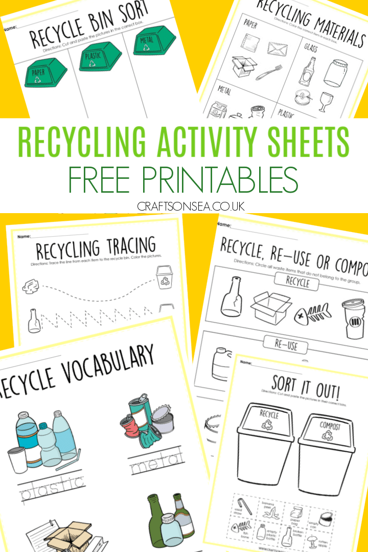 recycling activity sheets for kids