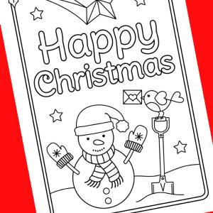 snowman christmas card to colour 300