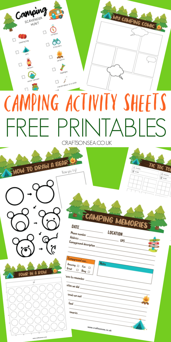 camping activity sheets for kids free printable PDF
