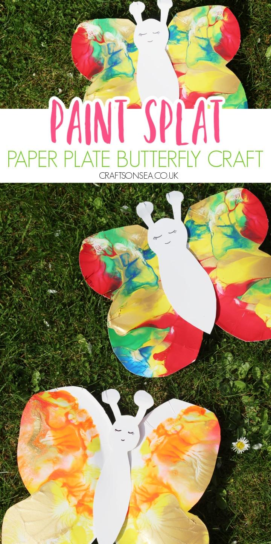 paper plate butterfly craft paint splat
