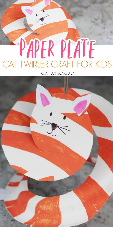 paper plate cat craft for kids twirler