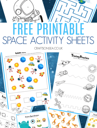 Space activity sheets printables
