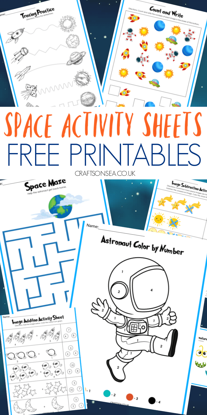 space activity sheets for kids free printable