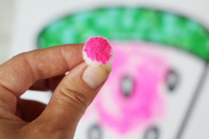 watermelon craft pom poms