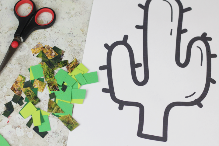 paper mosaic craft for kids cactus