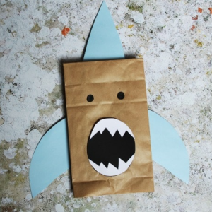 shark paper bag puppet 300