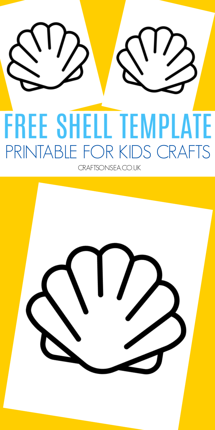 shell template printable pdf for kids crafts outline