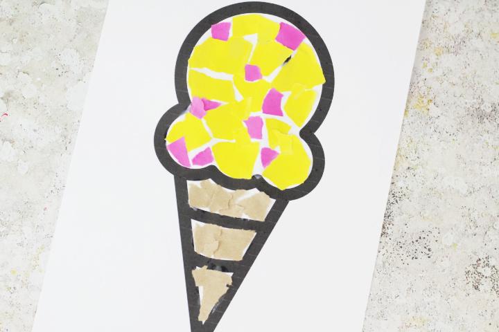 torn paper ice cream craft