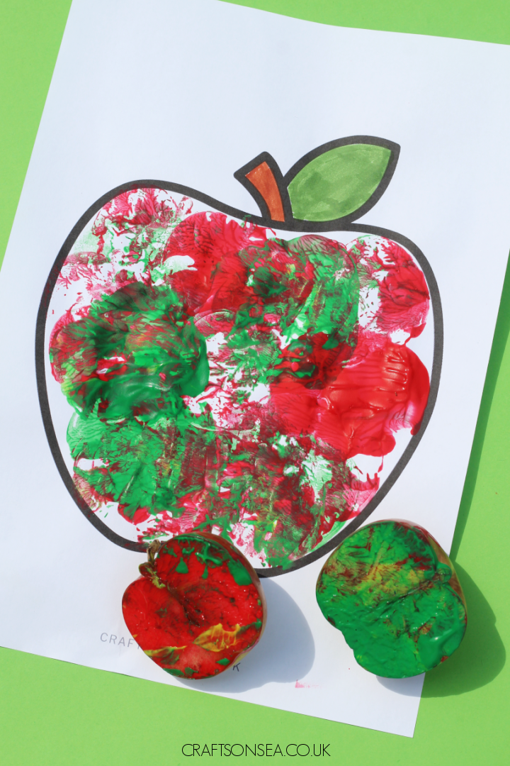 apple painting craft apple stamping