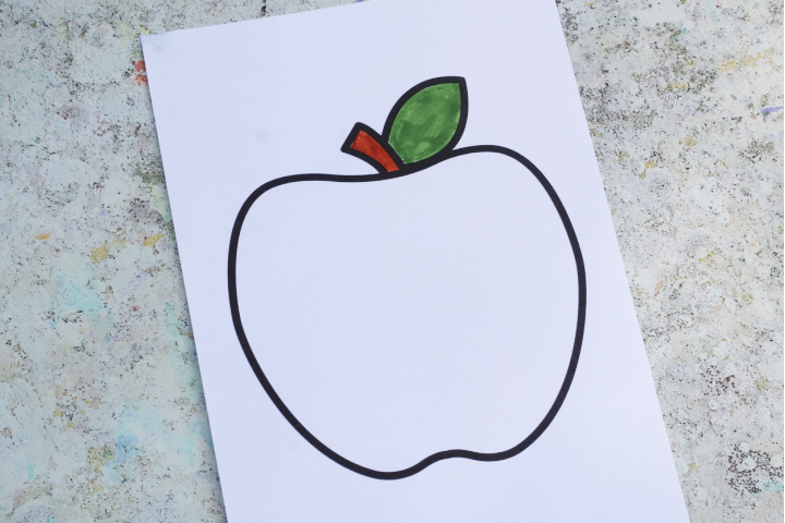 apple template for painting and colouring
