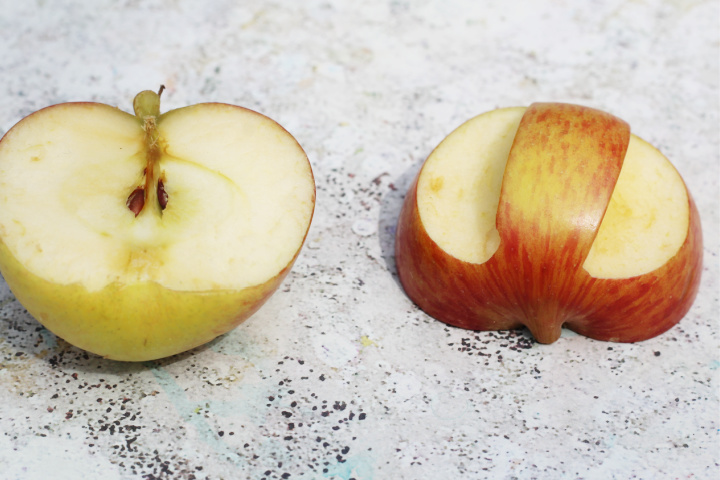 how to cut apples for apple stamping