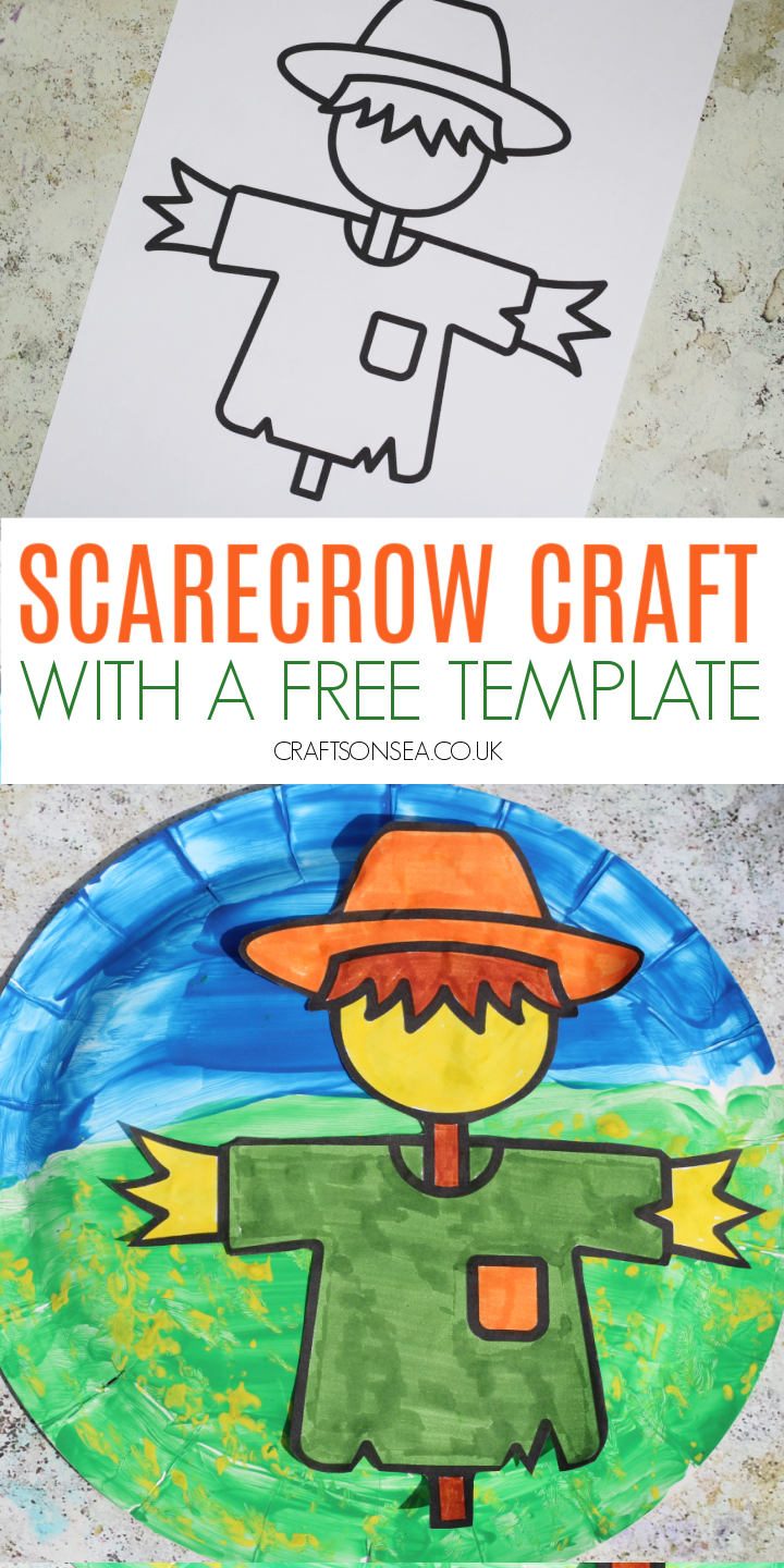 paper plate scarecrow craft free template