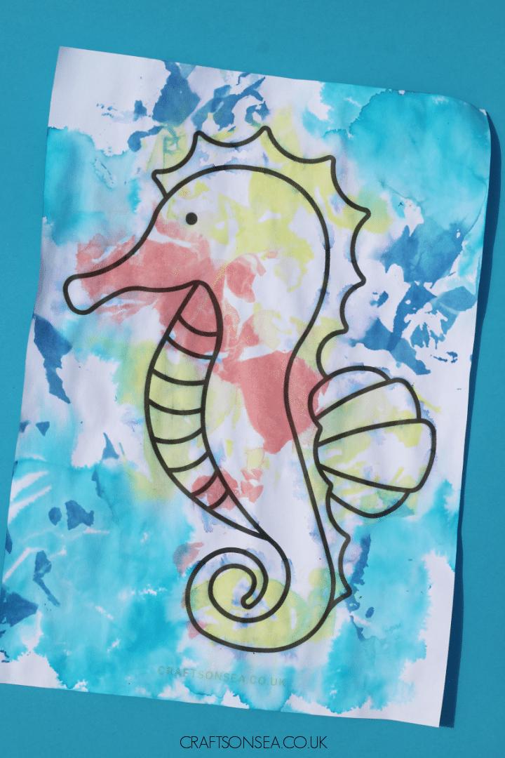 tissue paper seahorse craft