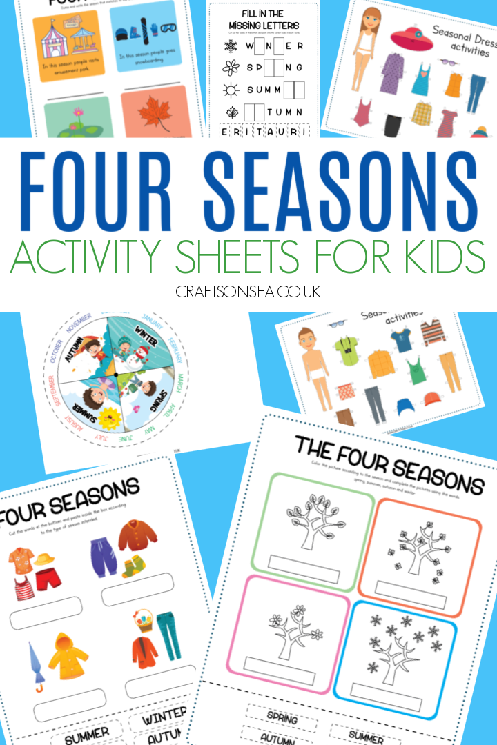 four seasons activity sheets for kids